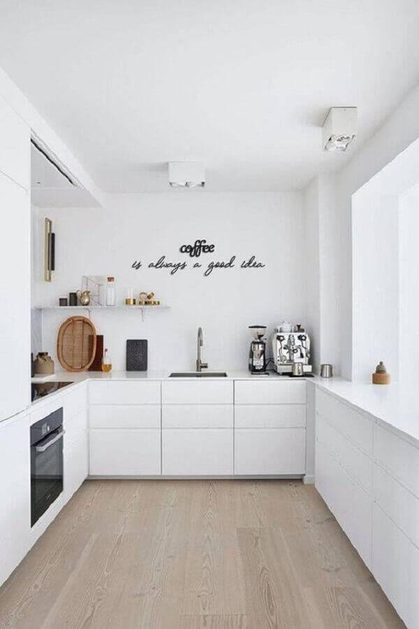 cozinha planejada em U moderna toda branca Foto Etsy