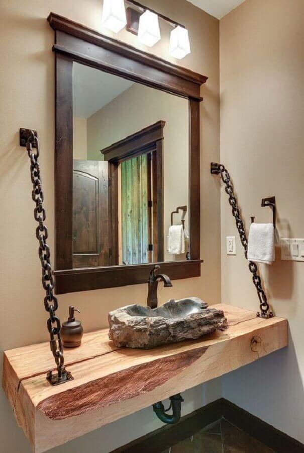 cuba rustica para banheiro com bancada de madeira suspensa por corretes de ferro Foto Pinterest