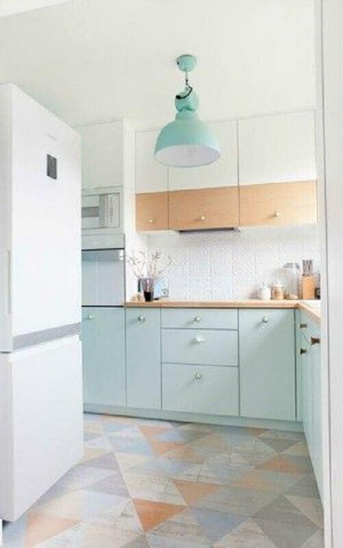 decoração clean para cozinha verde claro e branca Foto Pinterest