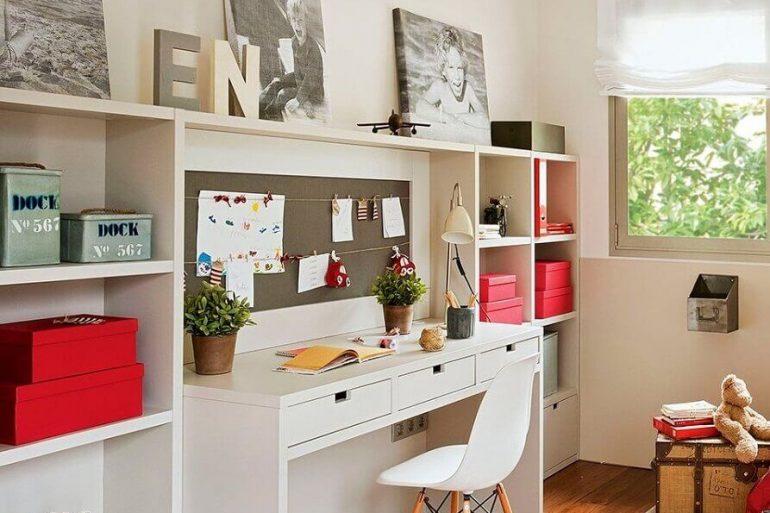 decoração clean para home office planejado