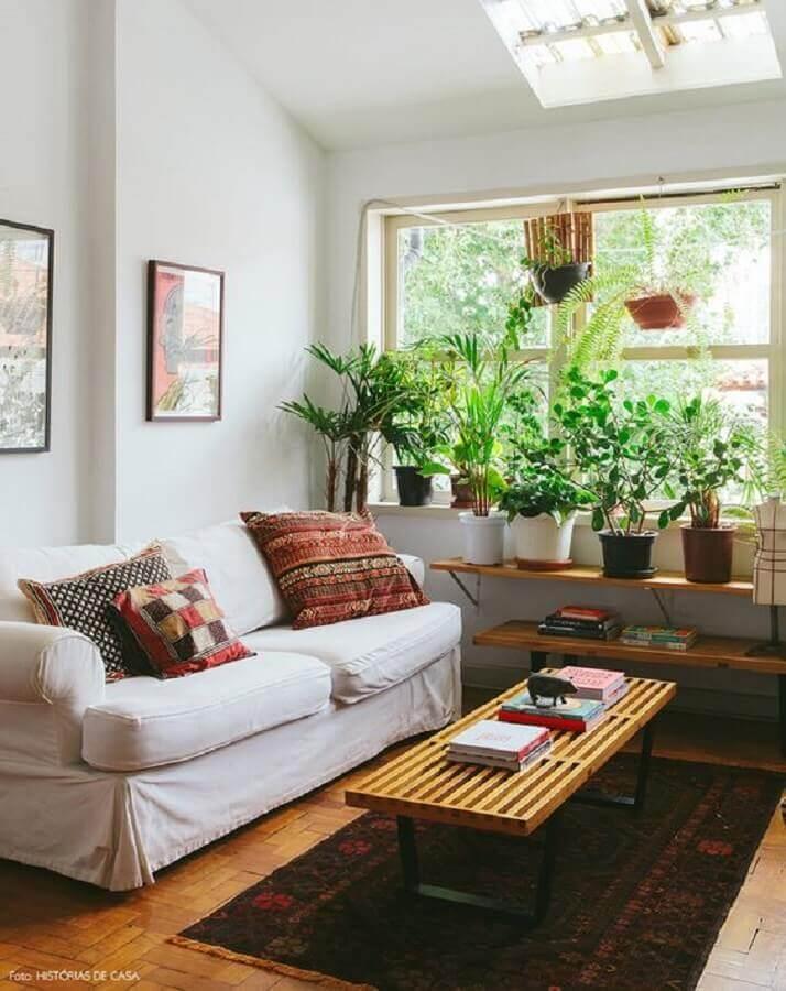 decoração com plantas para sala simples com sofá branco Foto Histórias de Casa
