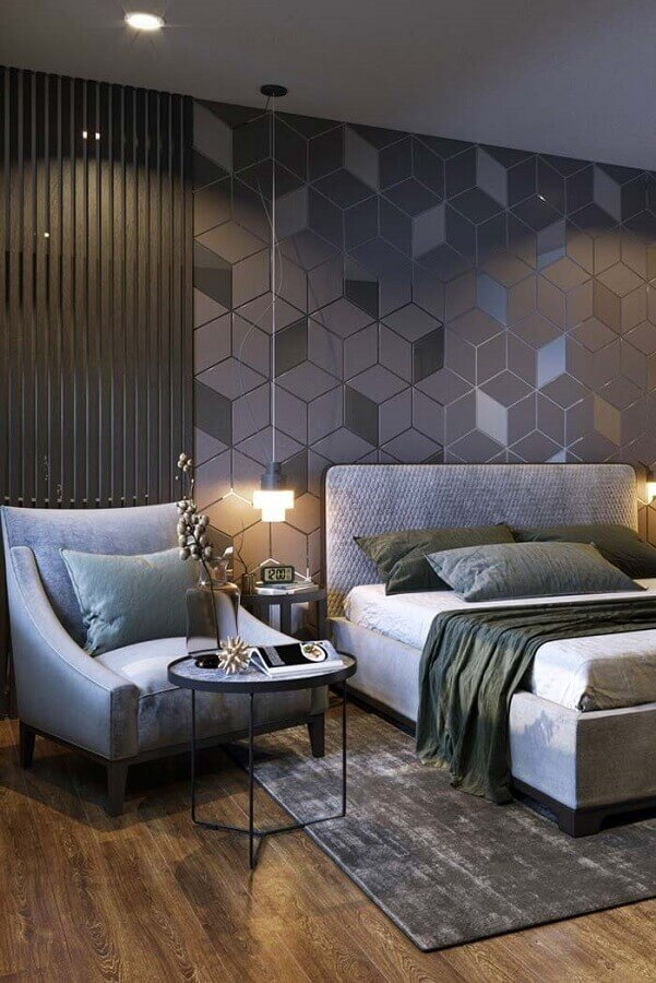 decoração com poltrona para quarto cinza moderno Foto Formatta Planejados