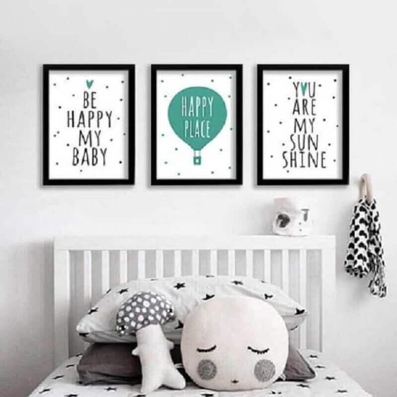 decoração com quadros com frases para quarto infantil Foto Pinterest