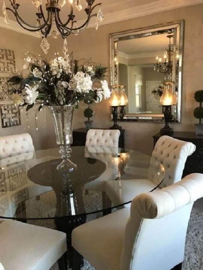 decoração com vaso grande para mesa de jantar sofisticada Foto Pinterest
