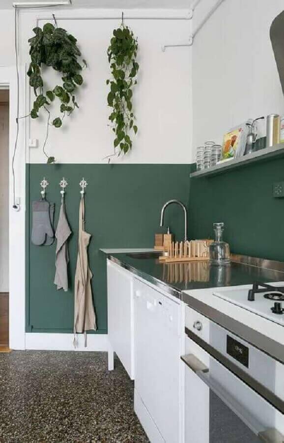 decoração cozinha verde e branca simples Foto Pinterest