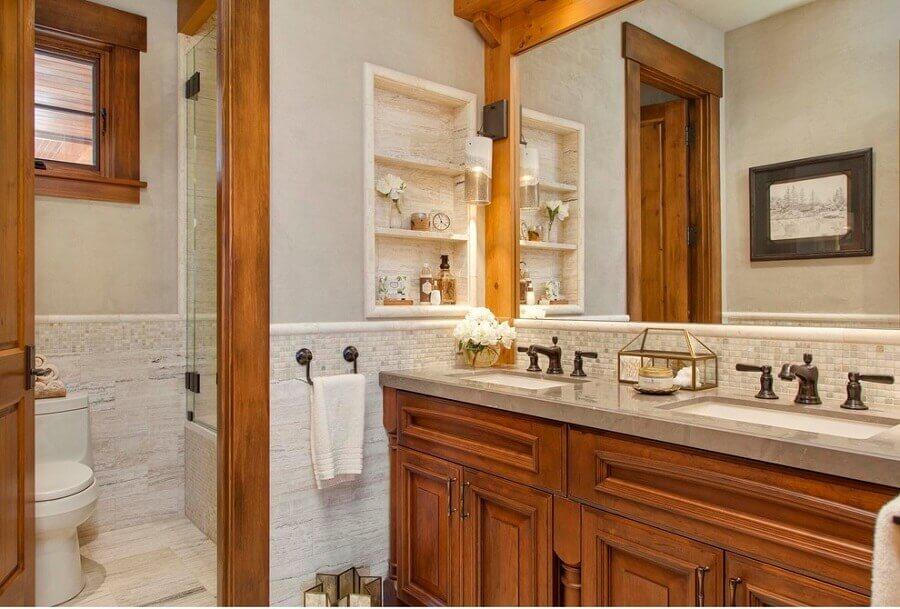 decoração de banheiro rústico e clássico Foto Pinterest
