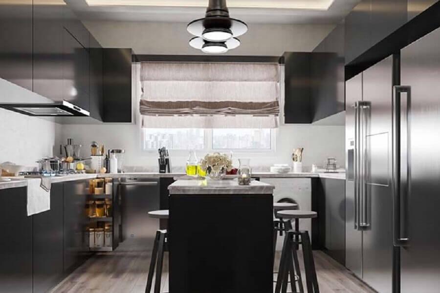 decoração de cozinha em U com ilha toda preta Foto Home Fashion Trend