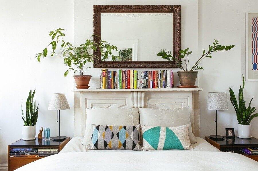 decoração de quarto de casal com vasos de plantas Foto Pinterest