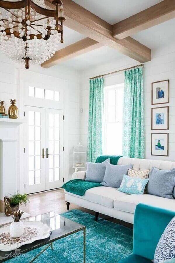 decoração de sala verde água e branca Foto Revista VD