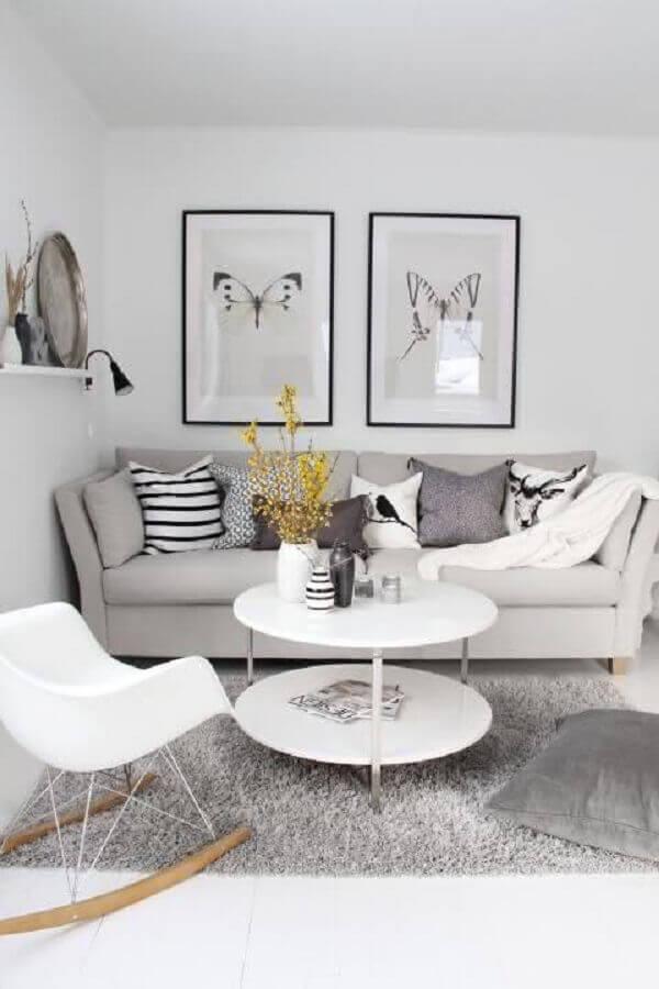 decoração minimalista com quadro de parede para sala cinza e branca Foto Home Fashion Trend