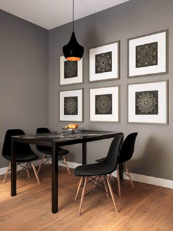 decoração minimalista com quadro de parede para sala de jantar cinza Foto Só Decor