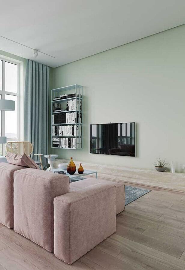 decoração minimalista para sala verde menta Foto Behance