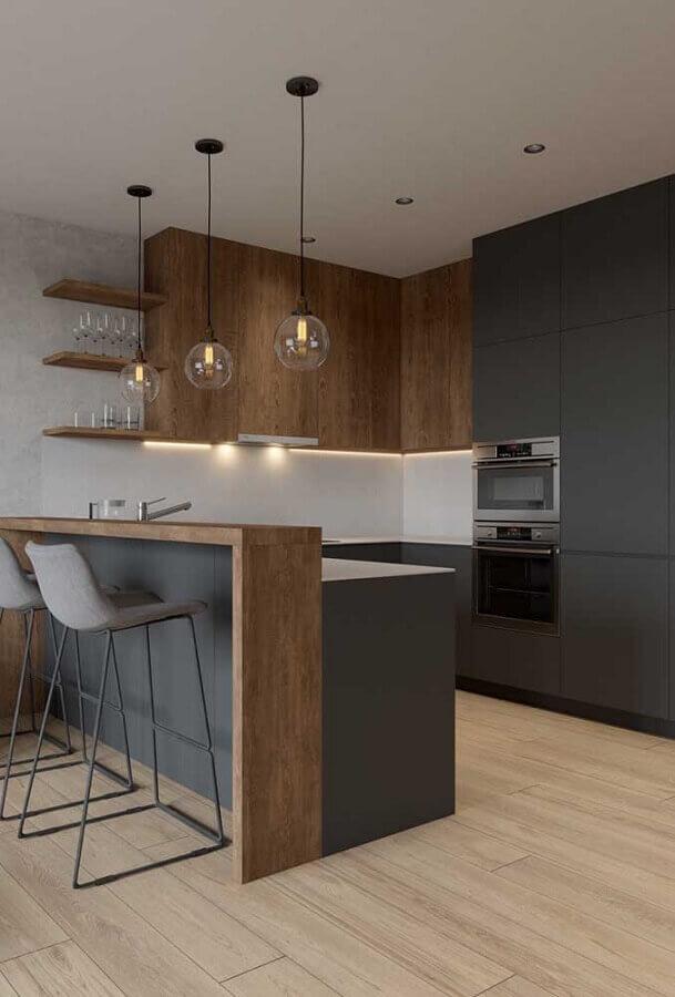 decoração moderna para cozinha americana em U cinza escura e madeira Foto Home Fashion Trend