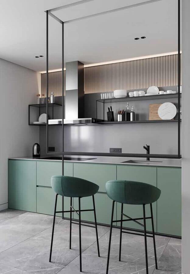 decoração moderna para cozinha verde claro e cinza Foto Pinterest