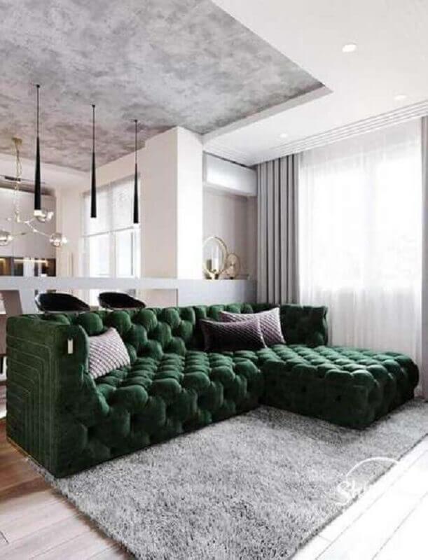 decoração moderna para sala verde e cinza Foto Pinterest