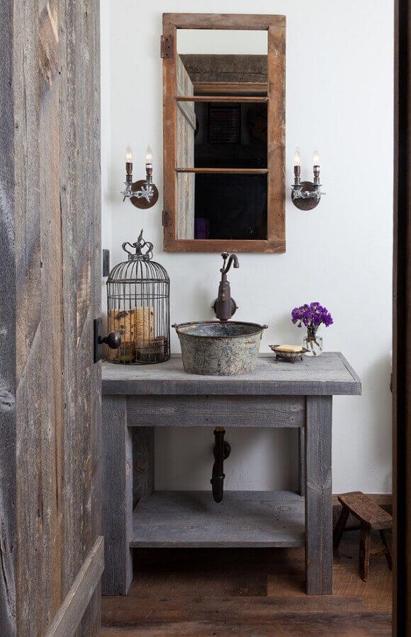 decoração para banheiro rústico simples Foto Pinterest