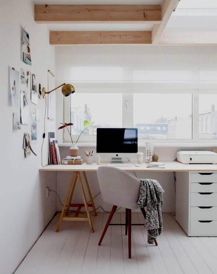 decoração para home office todo branco