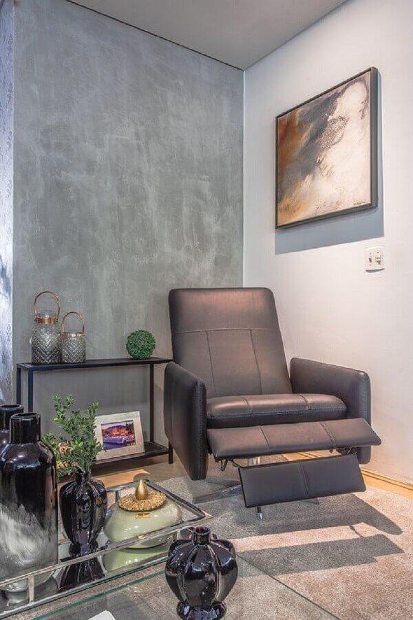 decoração para sala com poltrona reclinável moderna Foto Sgabello Decorações Ltda