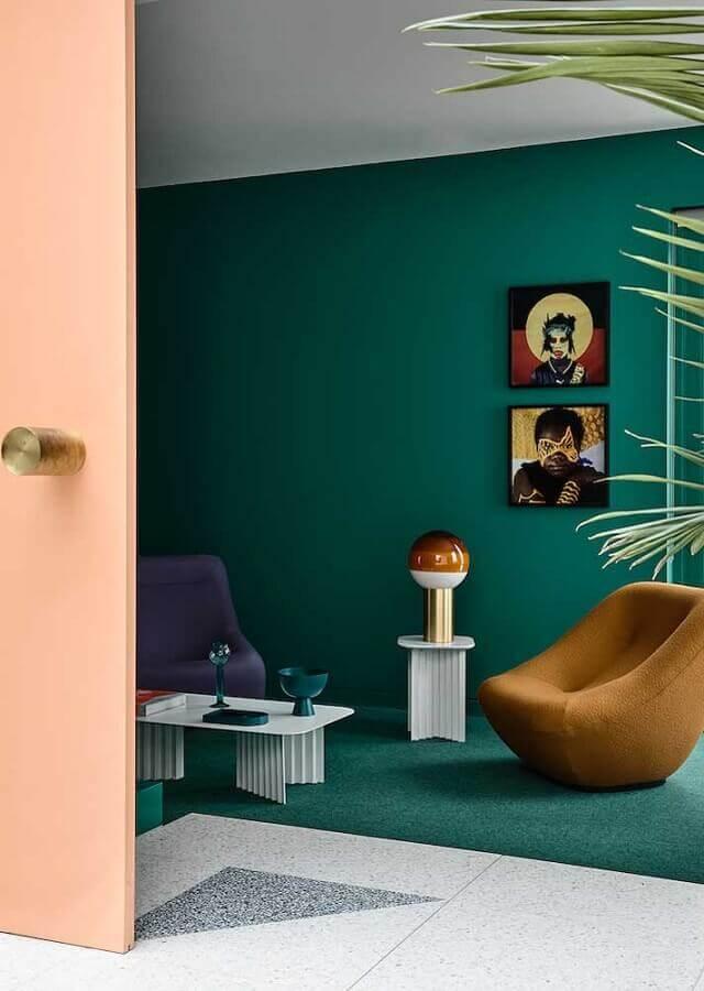 decoração para sala verde com poltronas modernas Foto Architecture Art Designs
