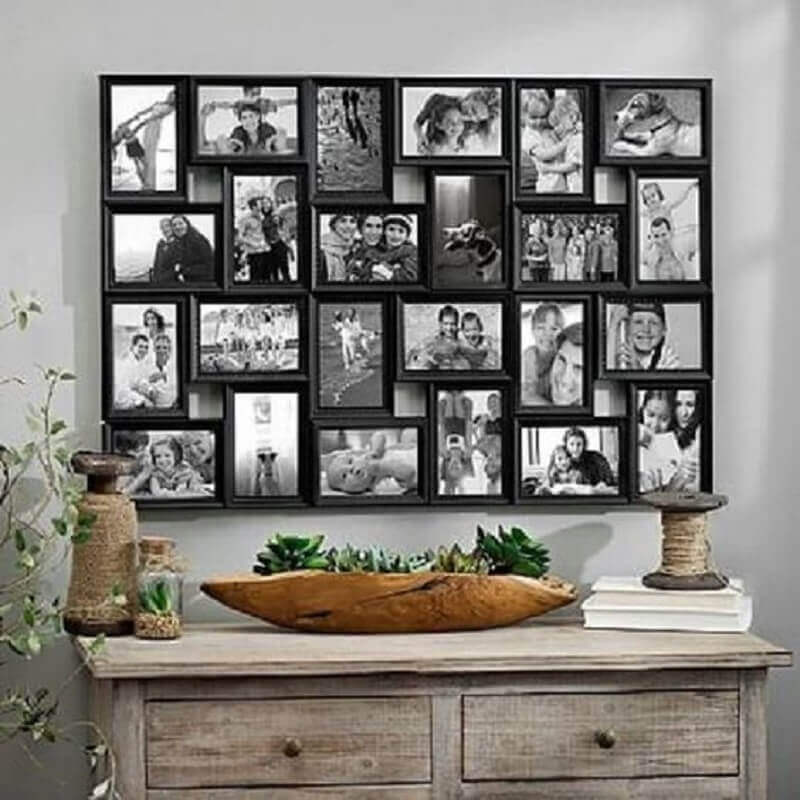 decoração rústica com parede com quadros de fotografia Foto Pinterest