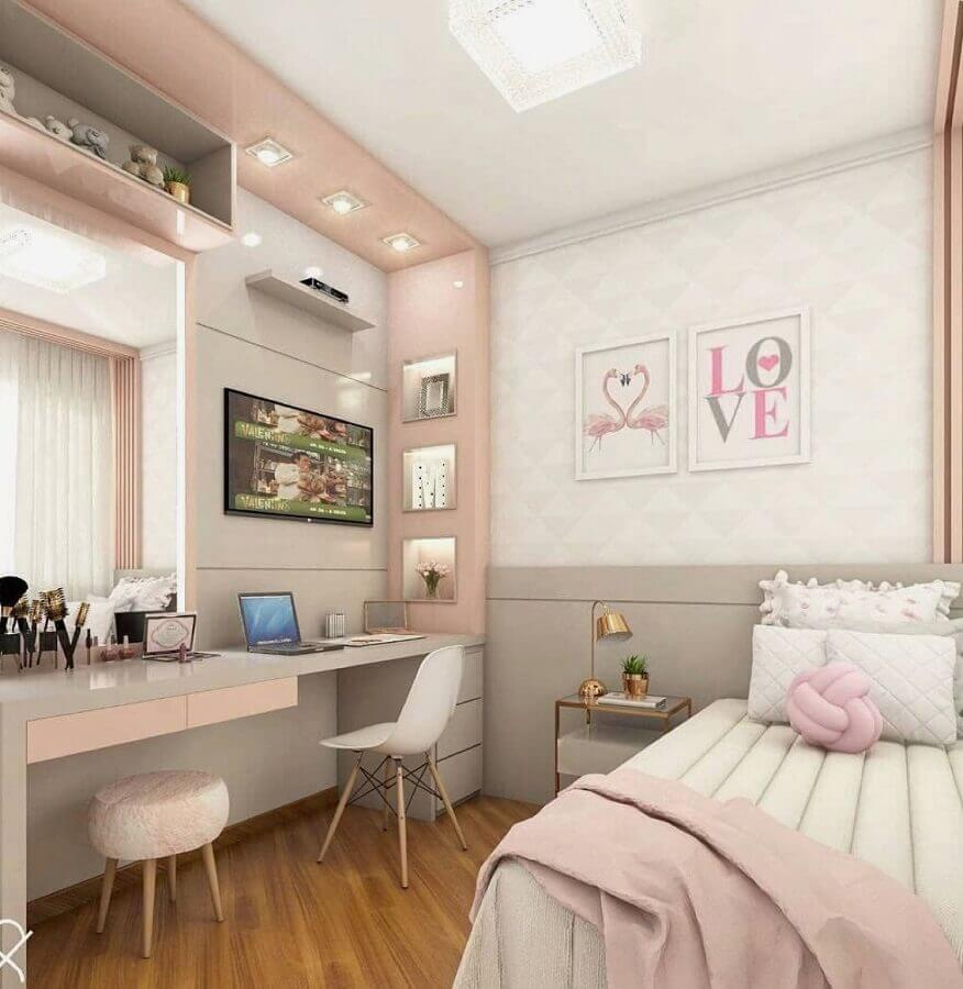 decoração rosa pastel branco e cinza para quarto feminino planejado Foto Futurist Architecture
