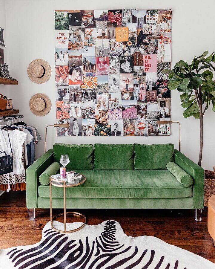decoração simples para sala verde e branca Foto Pinterest