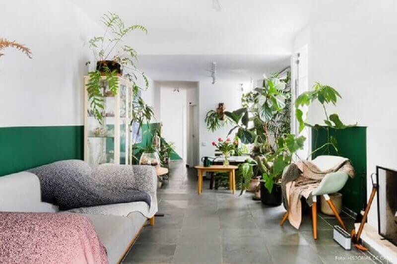 decoração simples para sala verde e branca com vários vasos de plantas Foto Histórias de Casa