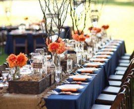 detalhes rústicos para decoração de casamento azul marinho ao ar livre Foto TudoBoda