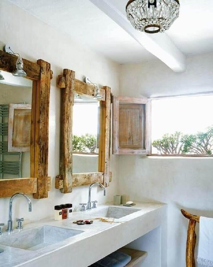 espelho rústico para banheiro todo branco Foto Pinterest
