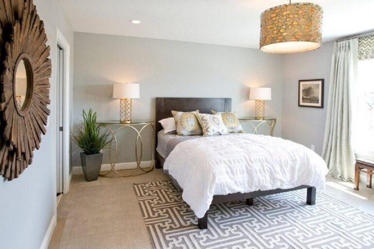 estampa geométrica para tapete para quarto de casal com cama de madeira foto decorando casas