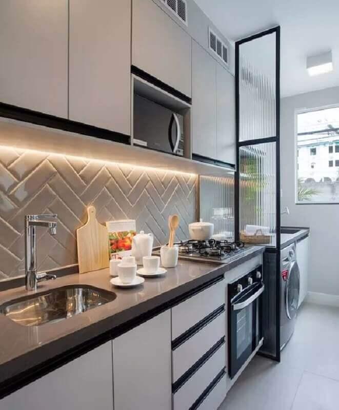 faixa de azulejo para cozinha moderna Foto Pinterest
