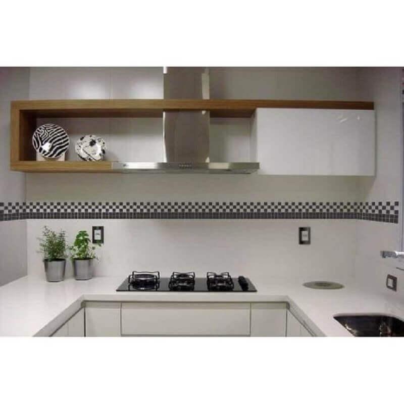 faixa decorativa para cozinha branca planejada Foto Acessando Stickers Adesivos