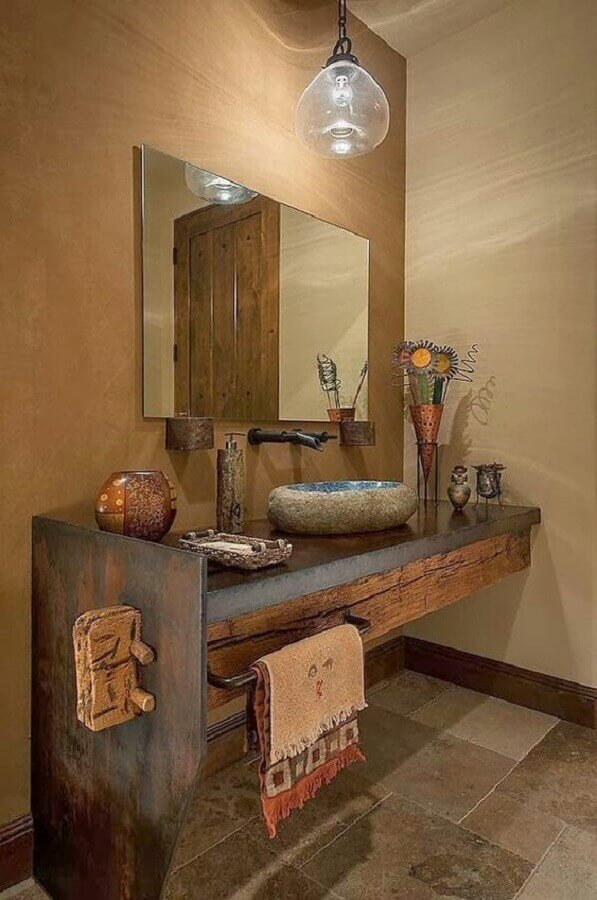 ideia de balcão para banheiro rústico Foto Architecture Art Designs