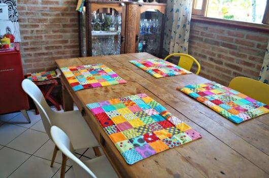 Jogo americano de tecido patchwork
