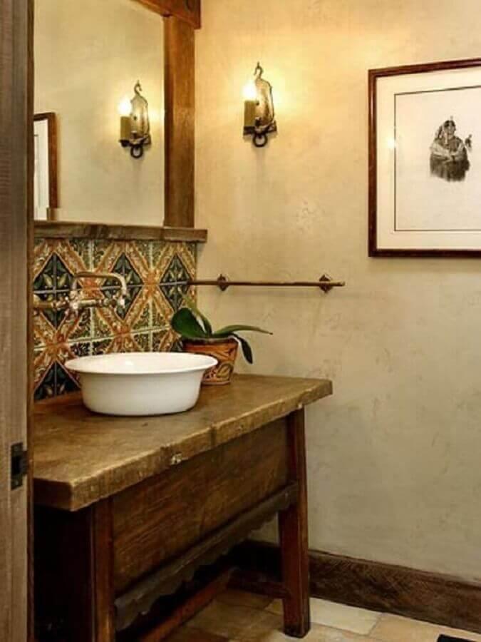 ladrilho hidráulico para decoração de banheiro rústico e simples Foto Pinterest