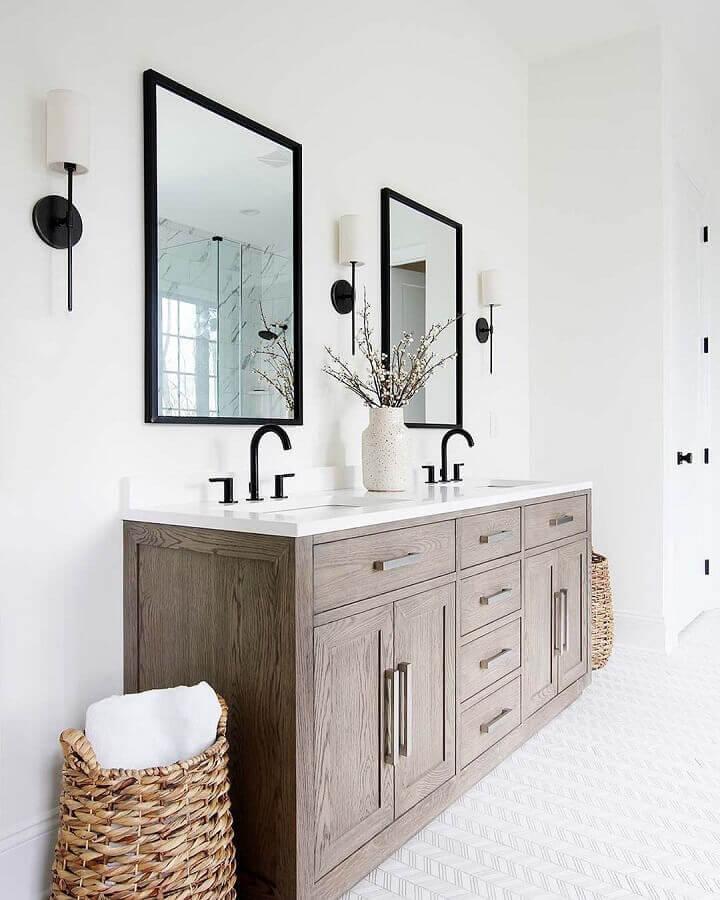 modelo de armário de banheiro rústico Foto Pinterest