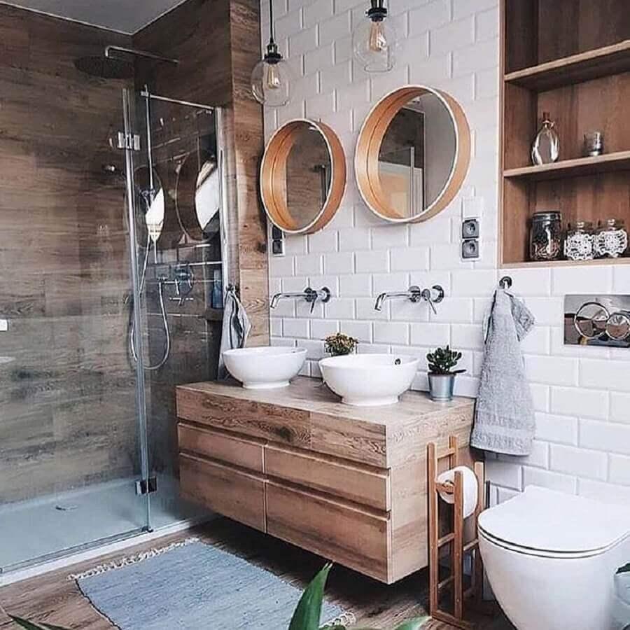 modelo de armário de banheiro rústico suspenso Foto Behance