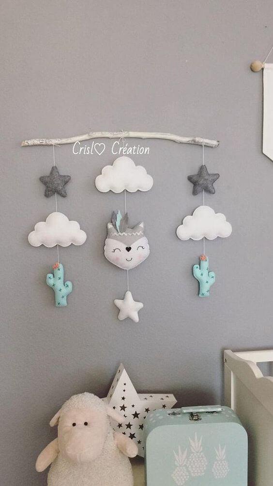 Nuvem de feltro na decoração
