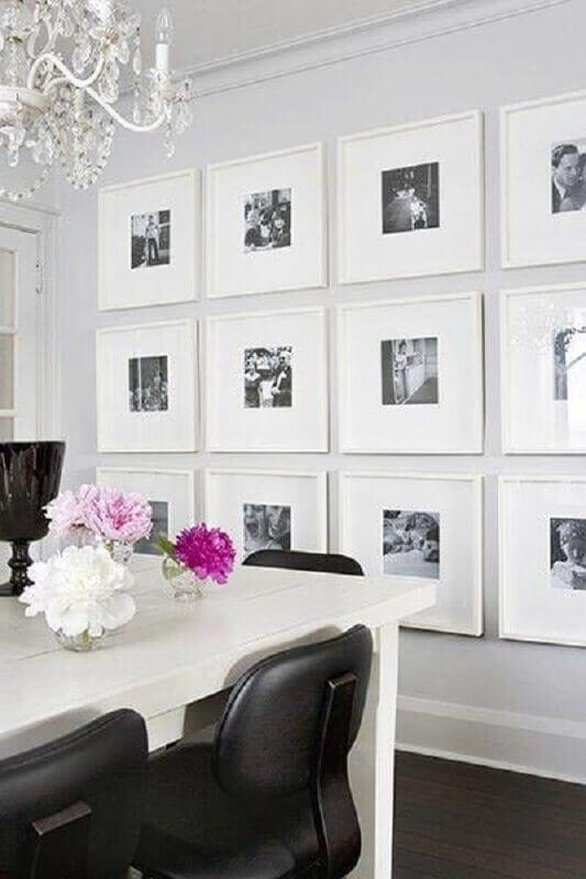 parede com quadros de fotografia para sala de jantar branca Foto We Heart It