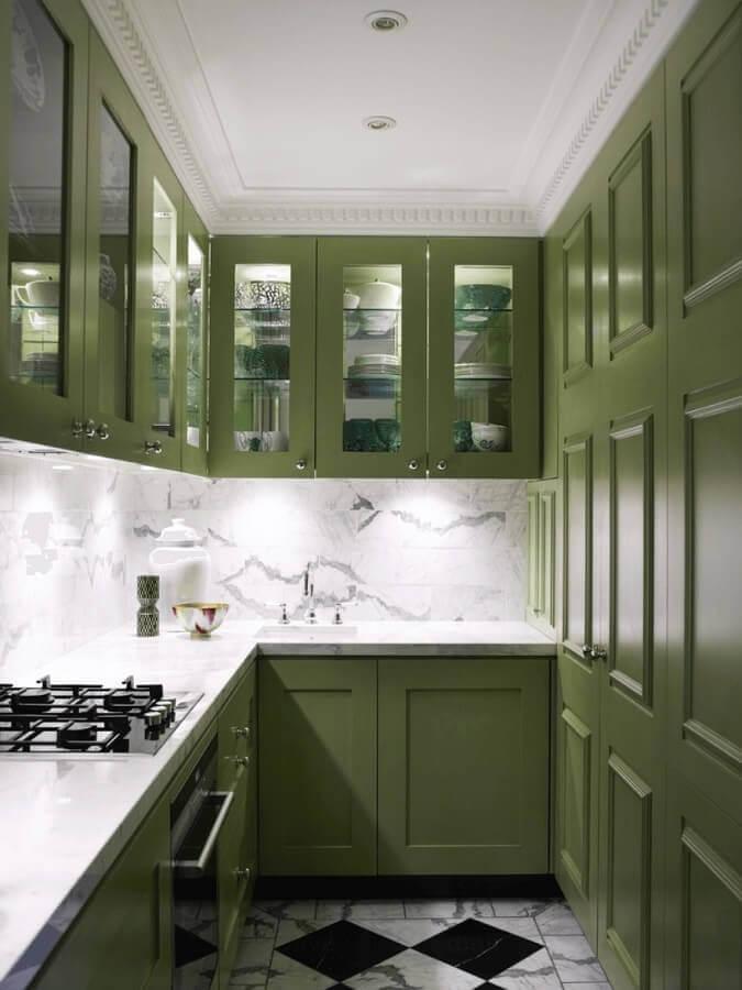 parede de mármore para decoração de cozinha verde musgo planejada Foto Pinterest
