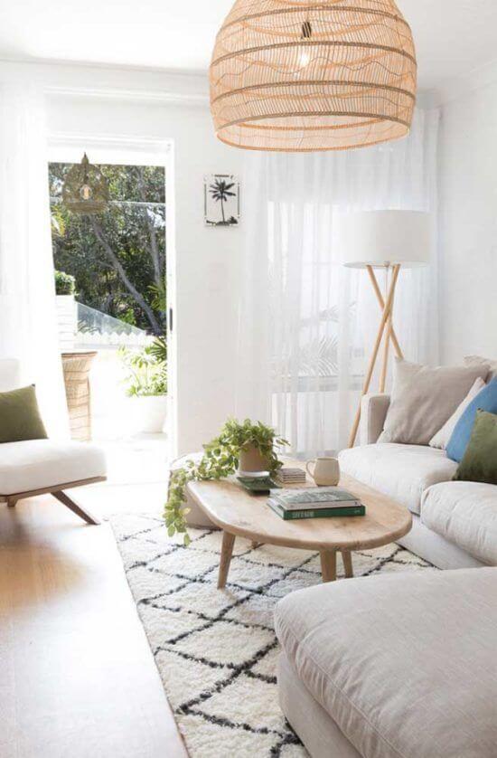 Sala de estar com vaso de planta jiboia na mesa de centro