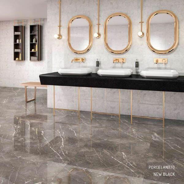 Banheiro com porcelanato marmorizado cinza
