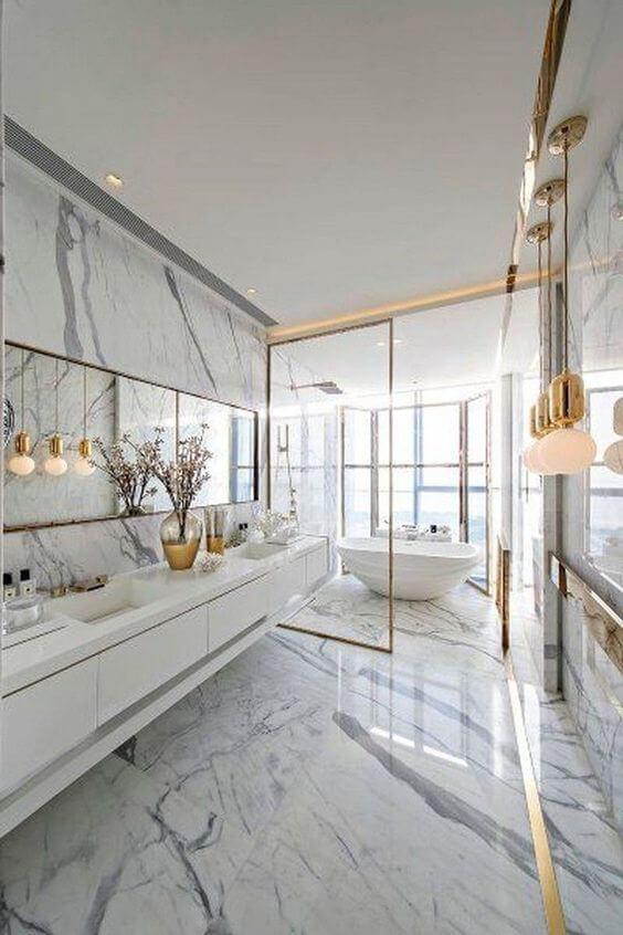 Você pode ter um lindo banheiro com porcelanato marmorizado