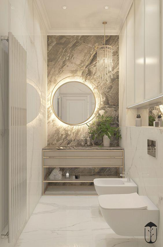 Porcelanato marmorizado no banheiro bem decorado