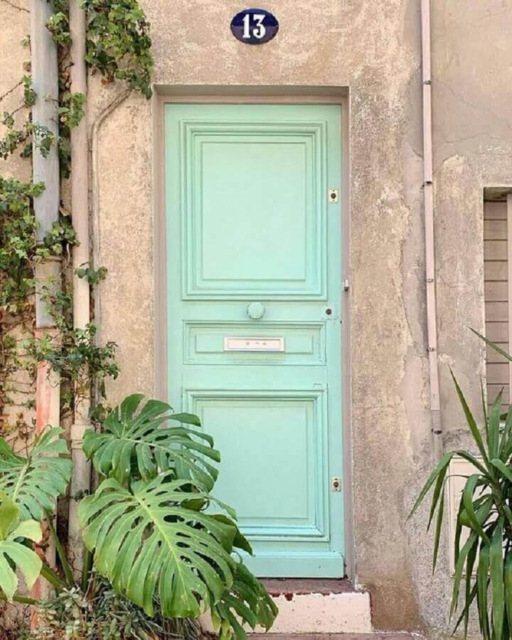 porta de entrada pintada na cor verde menta Foto Blog Gosto Disto