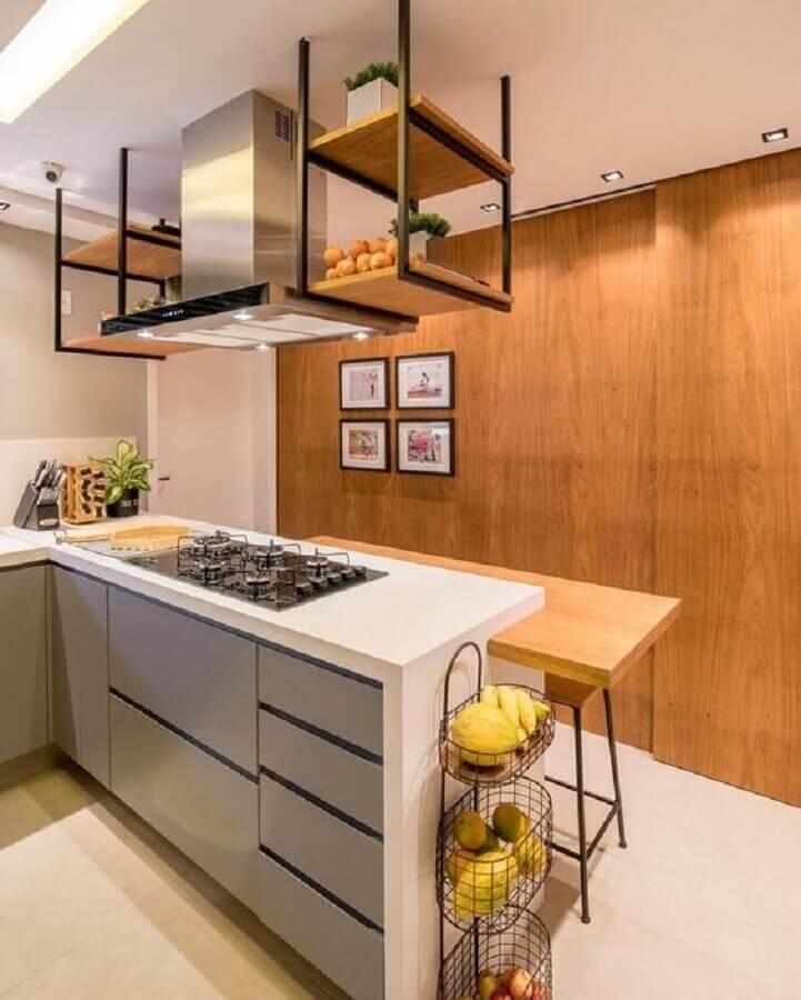 prateleira aramada suspensa para cozinha planejada com cooktop Foto Home Fashion Trend