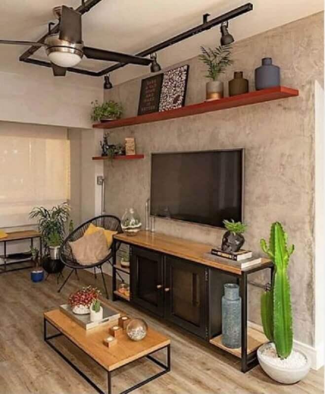 prateleira suspensa para sala com estilo industrial com parede de cimento queimado Foto Pinterest