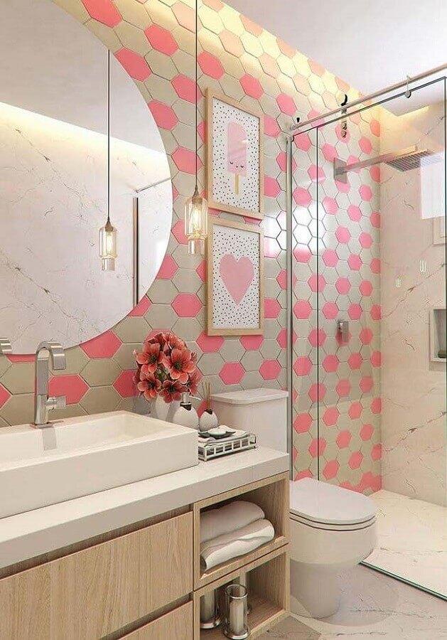 quadro de parede para banheiro rosa e bege Foto Home Fashion Trend