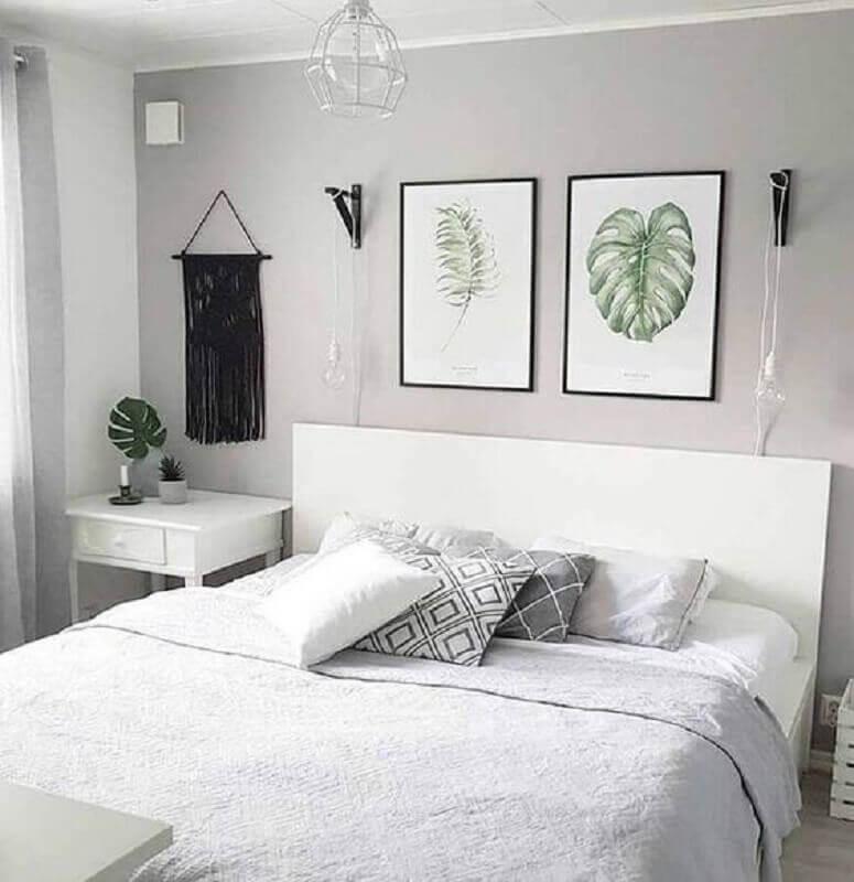 quadro de parede para quarto de casal branco e cinza Foto Pinterest
