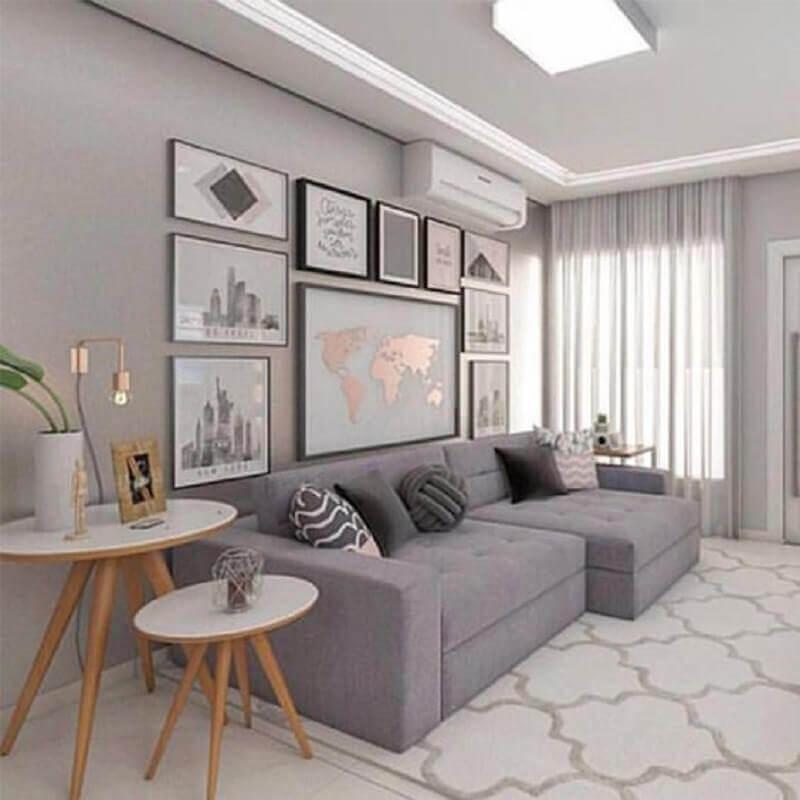 quadro de parede para sala de estar cinza moderna Foto Pinterest